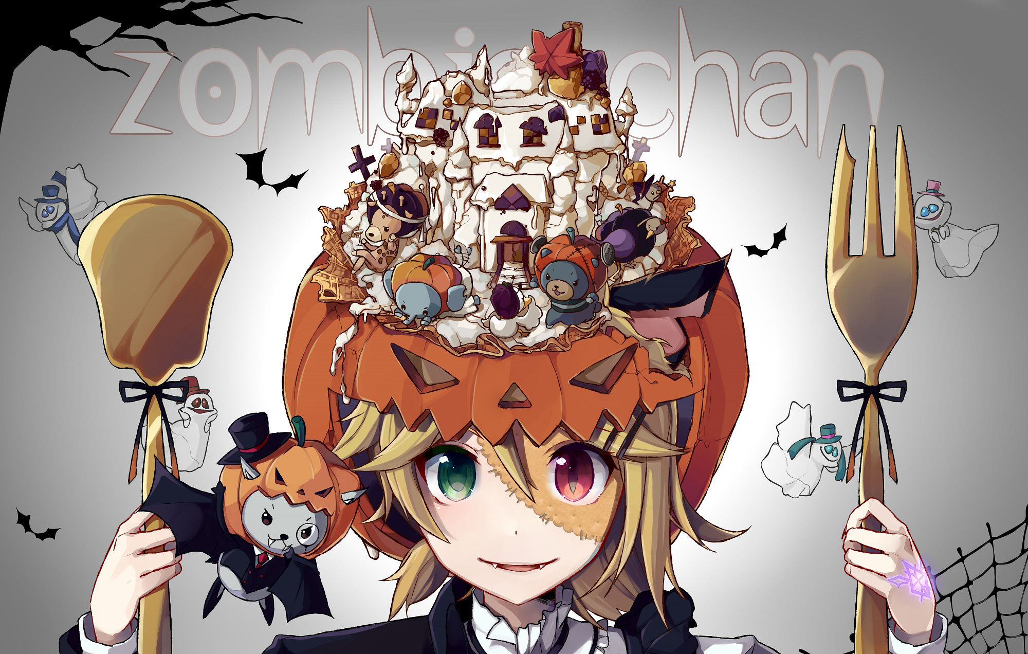 10-Amazing-Halloween-Pixiv-Artworks-#10_ぞんびちゃん_のう_Haruhichan.com