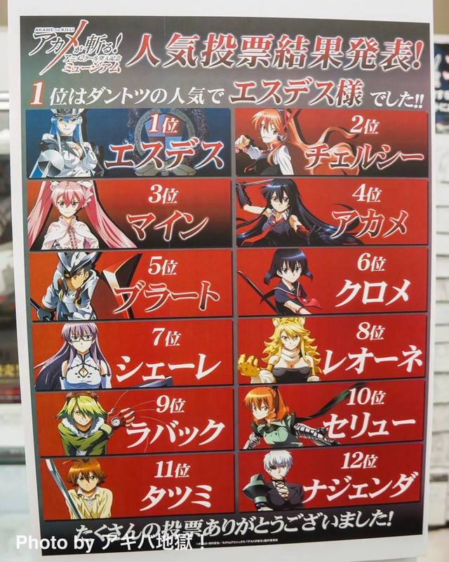 Akame Ga Kill! Exhibit Reveals the Results of Character Popularity Poll haruhichan.com Akame ga Kill! Anime Exhibit