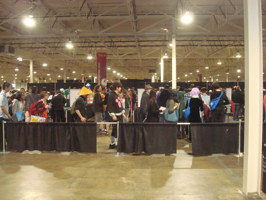 An example of the lines one has to stand in during cons.