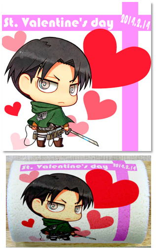 Attack on Titan Chibi Levi Valentine cake roll