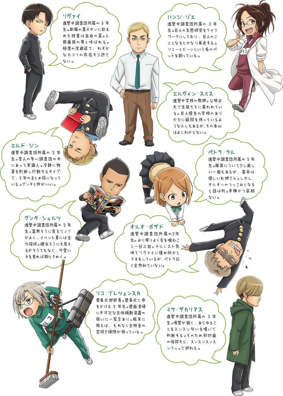 Attack on Titan Junior High Character designs 2
