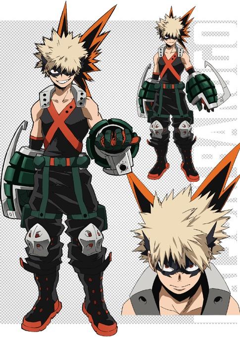 Boku no Hero Academia Hero suit character designs Katsuki Bakugou