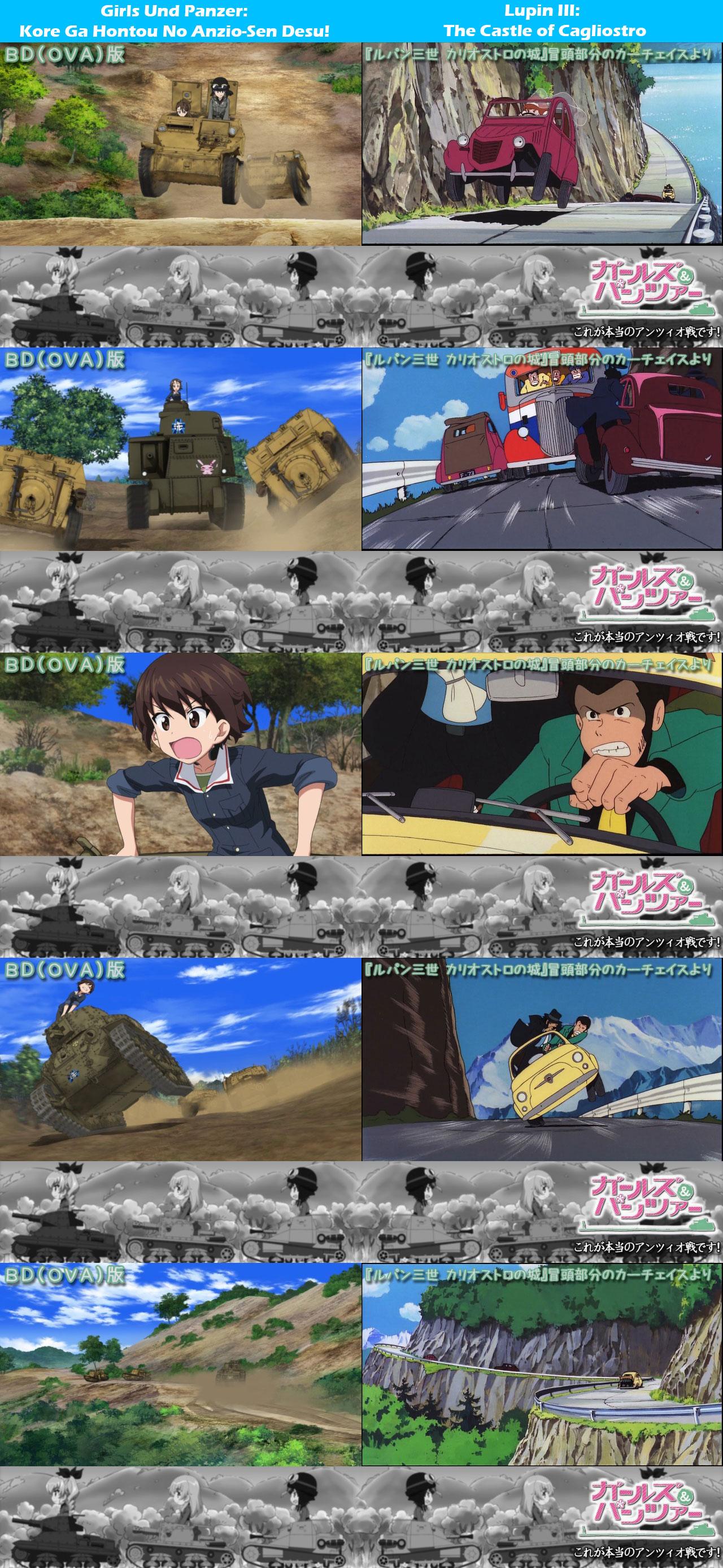 Girls-Und-Panzer-Kore-Ga-Hontou-No-Anzio-Sen-Desu-Lupin-III-The-Castle-of-Cagliostro-Homage-Comparison_Haruhichan.com