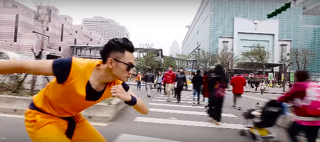 Goku Cosplayer Flys Nimbus in Taipei