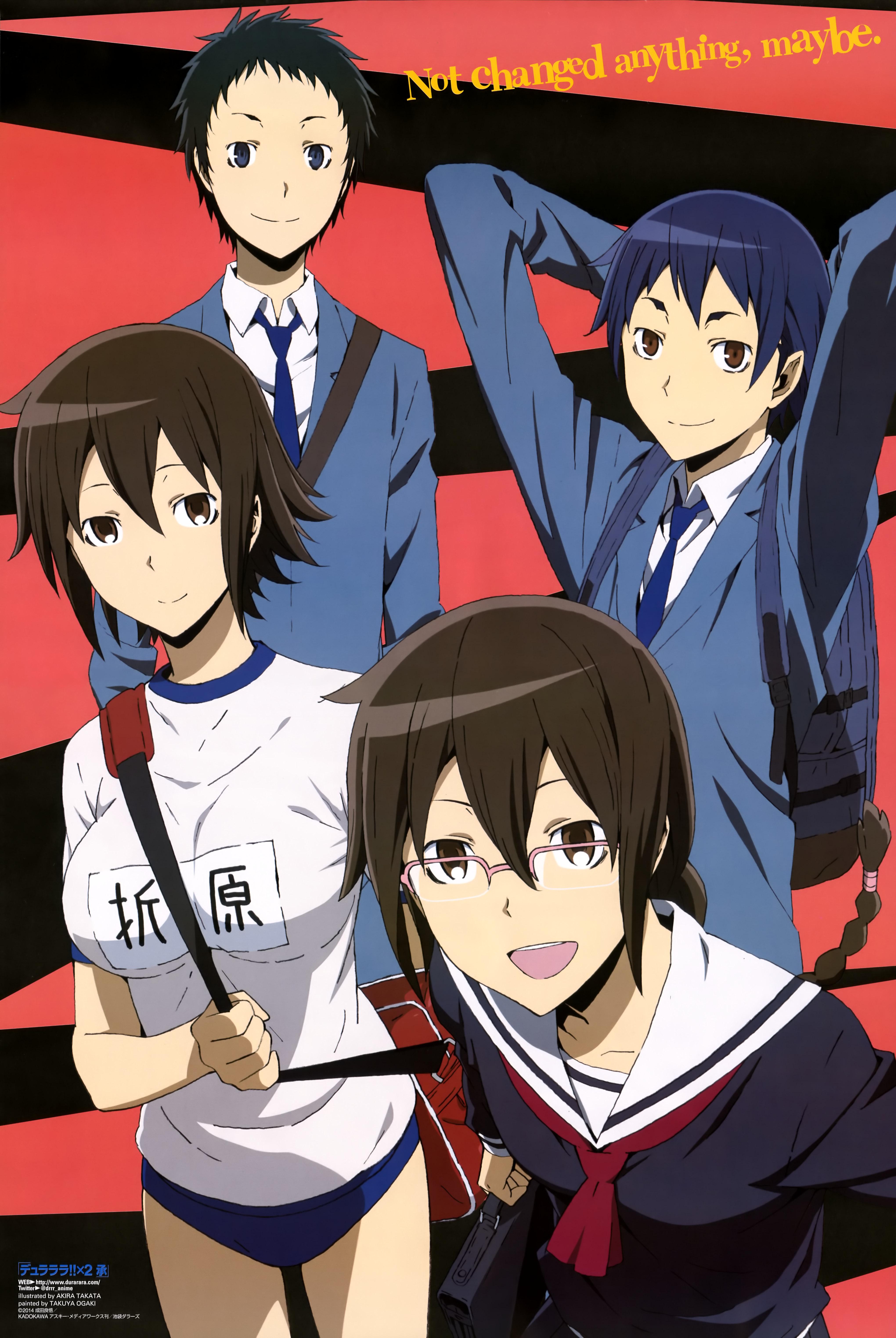 Haruhichan.com Newtype January 2015 posters  buruma durarara!! gym_uniform kuronuma_aoba megane orihara_kururi orihara_mairu ryuugamine_mikado seifuku takata_akira