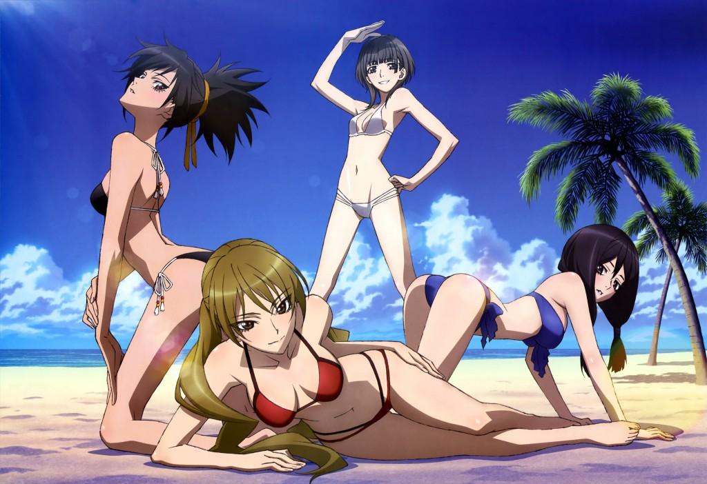 Haruhichan.com NyanType September 2014 posters bikini cleavage hazaki_emiru izuriha_sasame kasumi_raika m3-_sono_kuroki_hagane swimsuits yuzuki_maamu