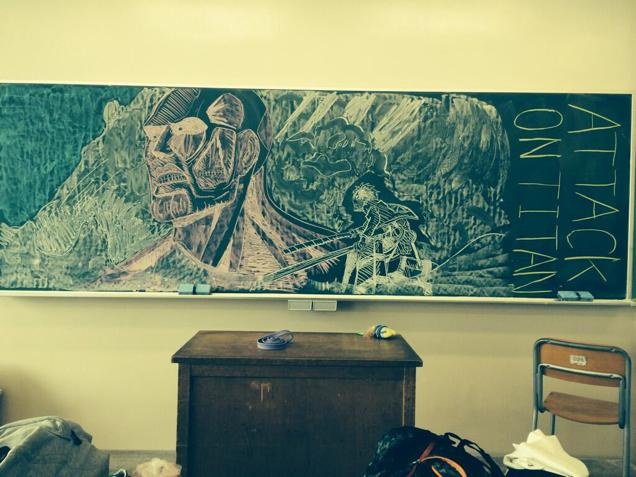 Japan Takes Drawing on a Chalkboard to a New Level haruhichan.com Attack on Titan Eren