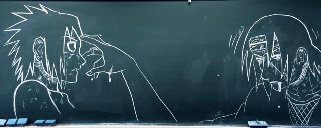 Japan Takes Drawing on a Chalkboard to a New Level haruhichan.com Itachi and Sasuke