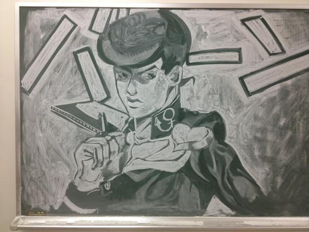 Japan Takes Drawing on a Chalkboard to a New Level haruhichan.com JoJo's Bizarre Adventure's Josuke Higashikata