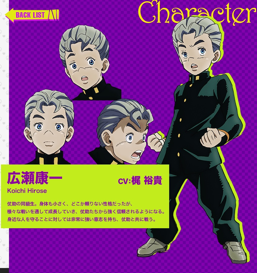 JoJos Bizarre Adventure Part IV Diamond Is Unbreakable anime character design Koichi Hirose