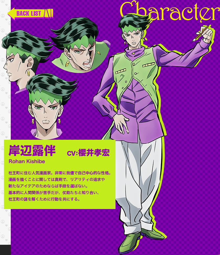 JoJos Bizarre Adventure Part IV Diamond Is Unbreakable anime character design Rohan Kishibe