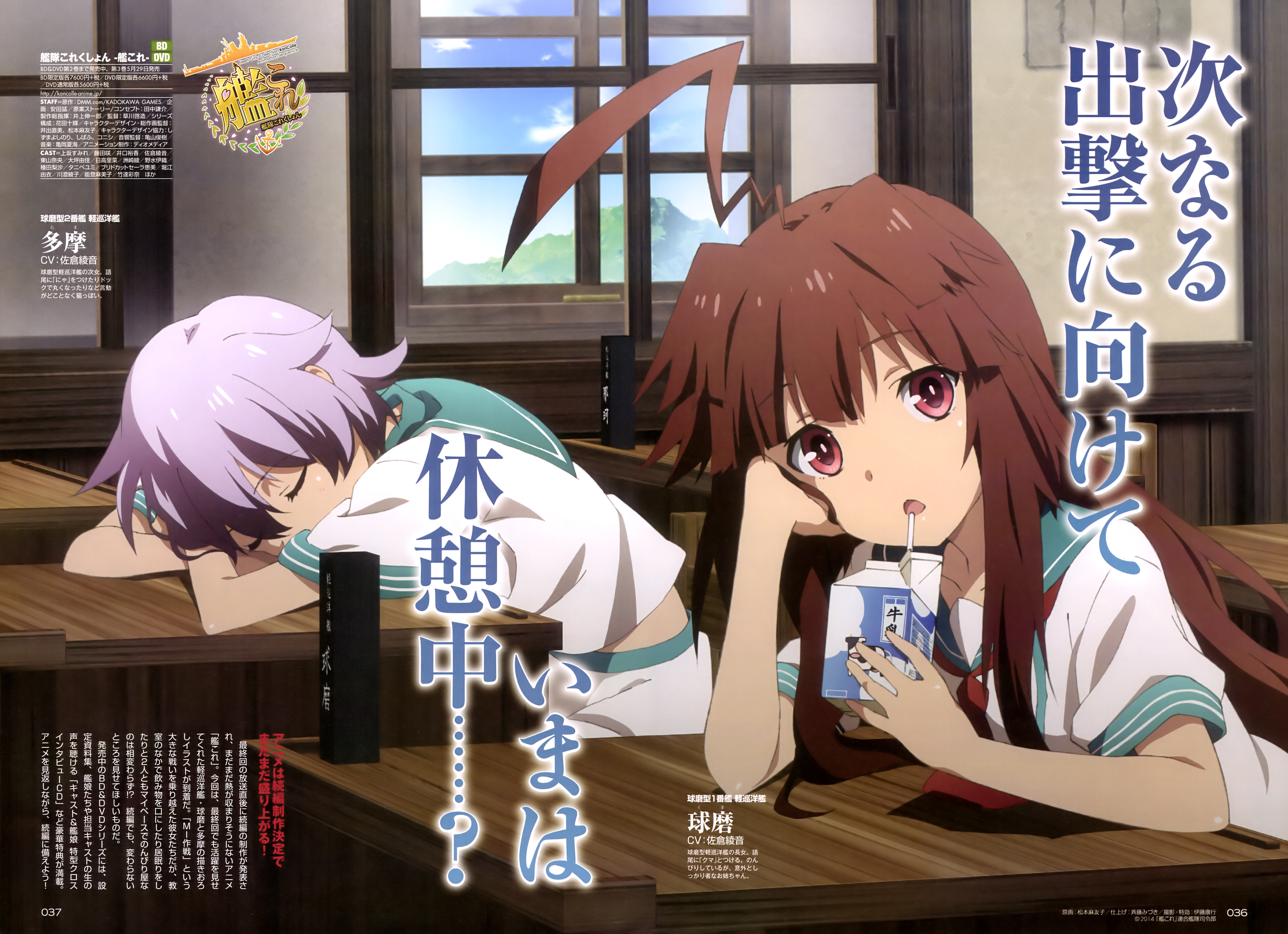 Kuma and Tama Relax before the Second Season of Kancolle