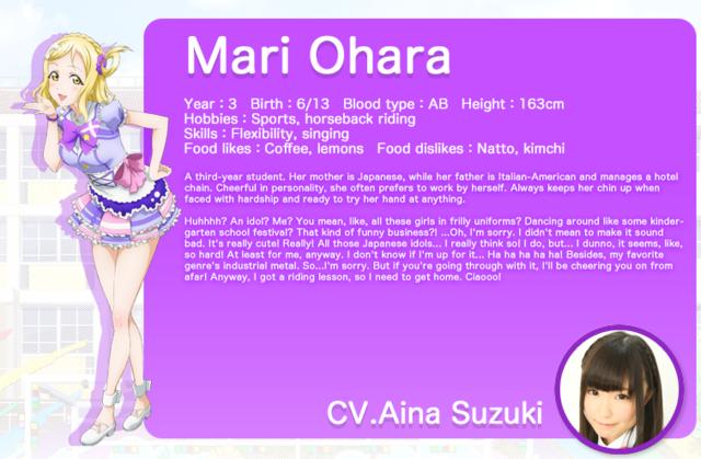 Love Live! Sunshine!! Mari Ohara