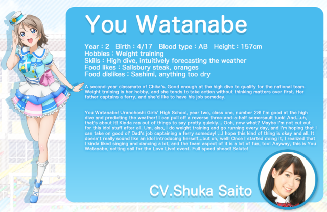 Love Live! Sunshine!! You Watanabe