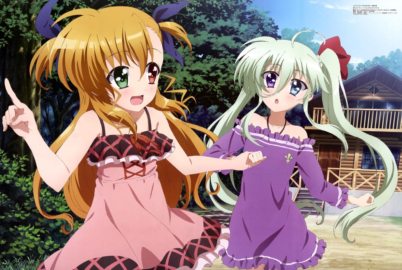 Megami-MAGAZINE-May-2015-anime-posters-Mahou-Shoujo-Lyrica-Nanoha-Vivid-Einhart-Stratos-Vivio