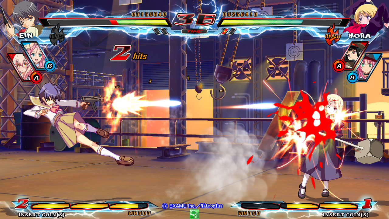 Nitroplus Blasters Heroines Infinite Duel Gameplay haruhichan.com Visual Novel Fighter game screenshot 1