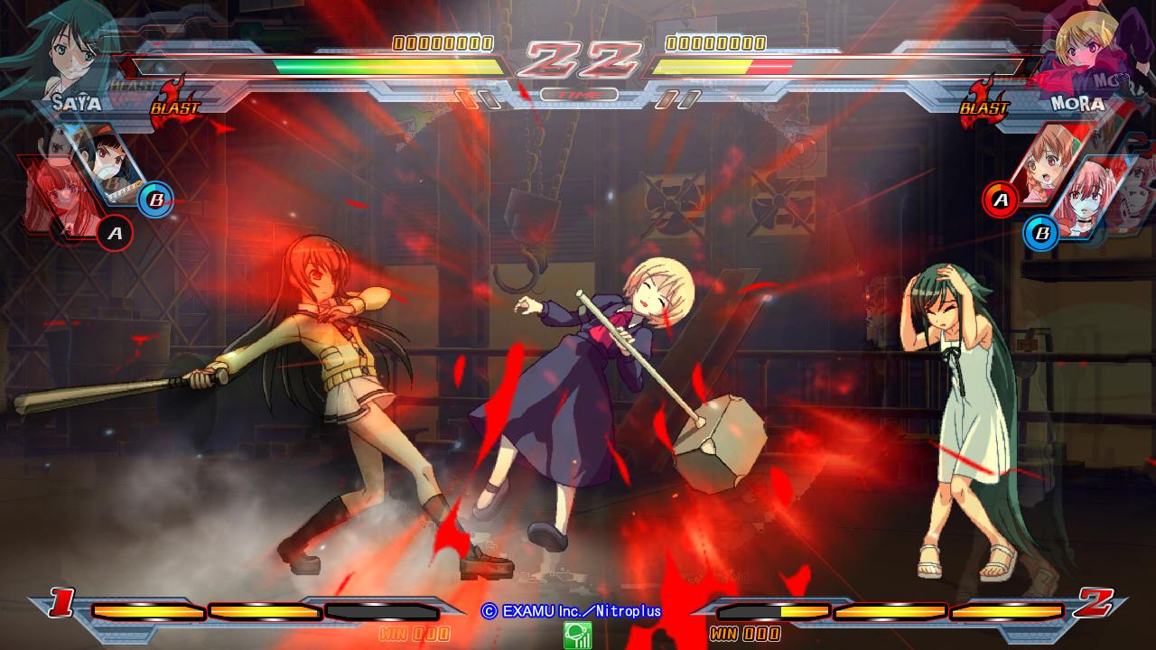 Nitroplus Blasters Heroines Infinite Duel Gameplay haruhichan.com Visual Novel Fighter game screenshot 10