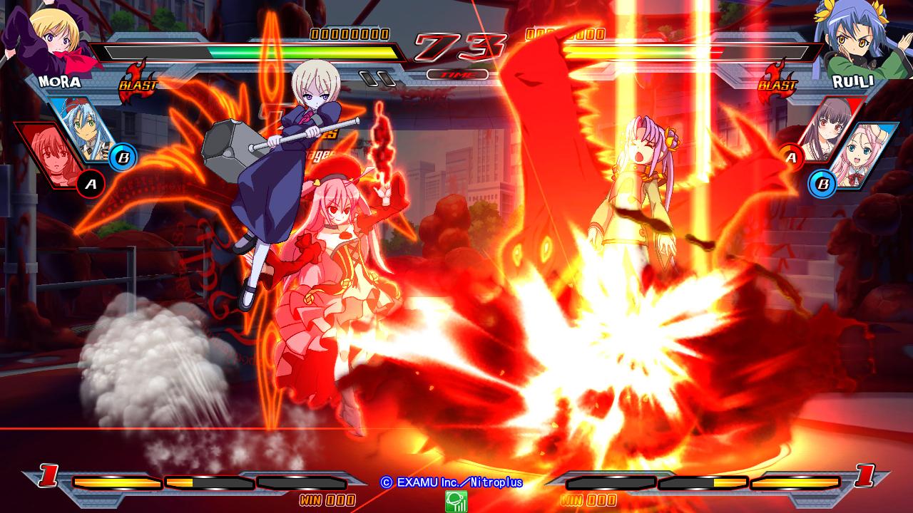 Nitroplus Blasters Heroines Infinite Duel Gameplay haruhichan.com Visual Novel Fighter game screenshot 5