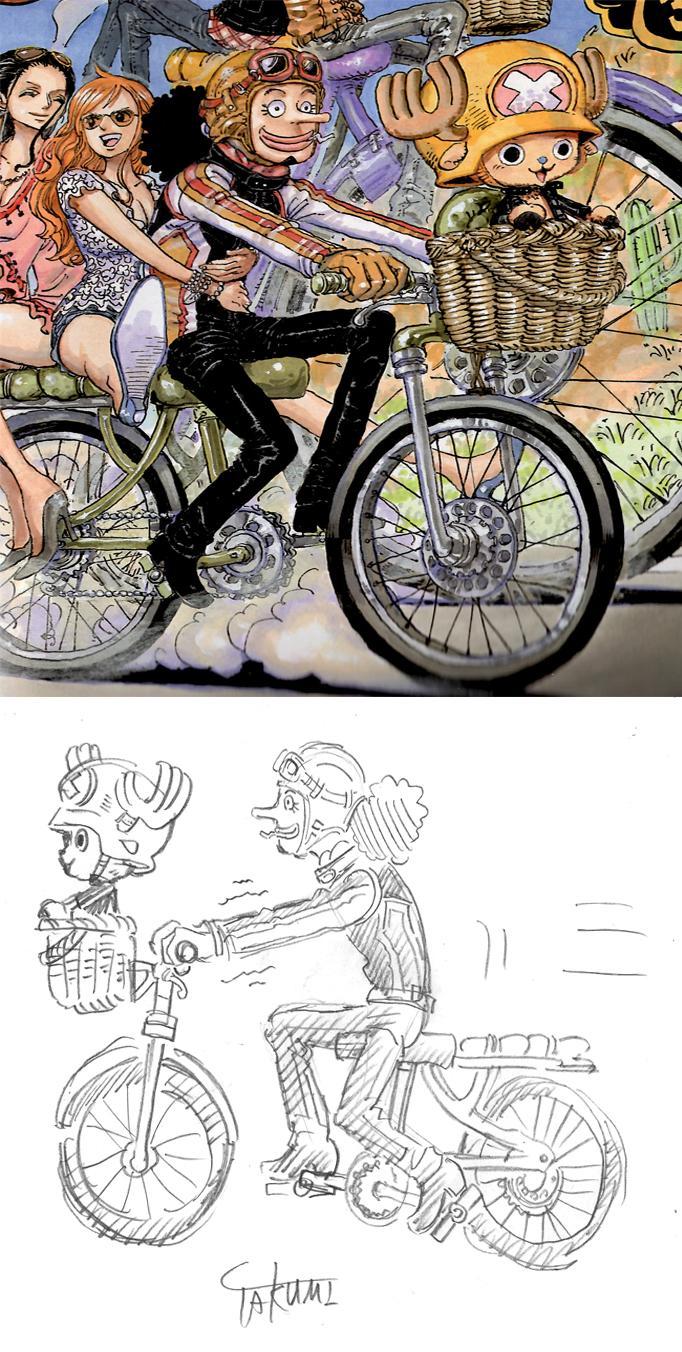 One Piece Illustration Error Spotted by Fans haruhichan.com usopp chopper bike error