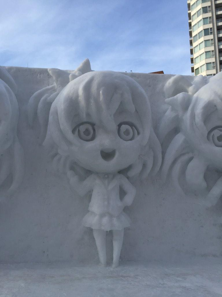 Snow Miku Love Live Madoka Magica and More Ice Sculptures Displayed at the 66th Sapporo Snow Festival haruhichan.com Love Live! Kousaka Honoka Sonoda Umi Minami Kotori ice sculpture 4