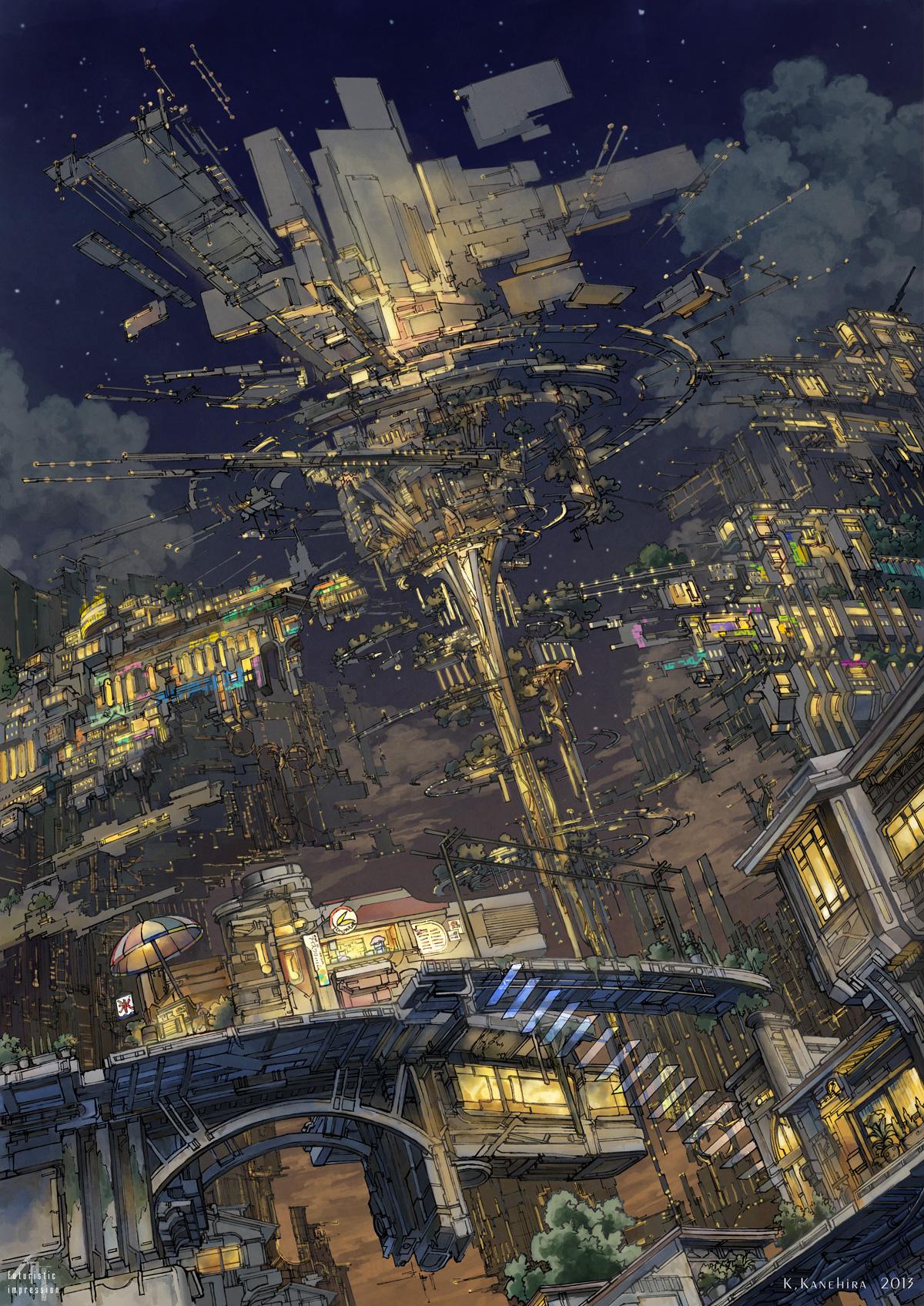 Top-Ten-Pixiv-Artworks-of-the-Week-#1_#8_浮遊遺跡ライトアップ_K,Kanehira_Haruhichan.com