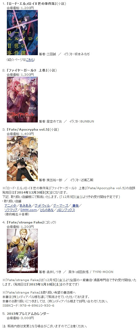 Type-moon Comiket 87 releases haruhichan.com light novel